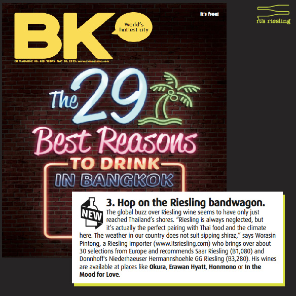 BK Magazine - #3 Reasons to Drink in Bangkok: Hop on the Riesling Bandwagon