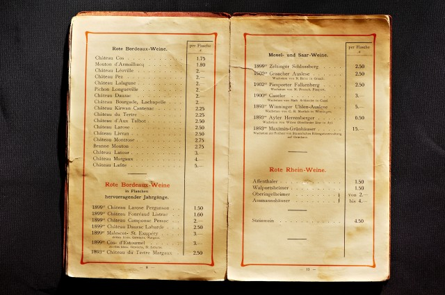 Old Wine List showing Mosel and Saar Wines versus red Bordeauxs